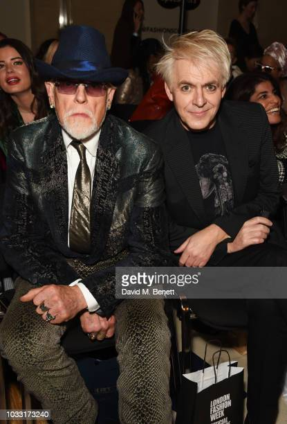 Antony Price and Nick Rhodes attend the Pam Hogg front row during London Fashion Week September 2018 at The Freemason's Hall on September 14 2018 in...