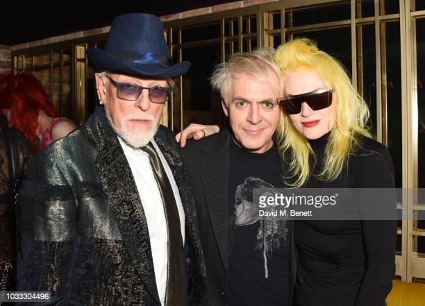 Antony Price Nick Rhodes and Pam Hogg attend an after party celebrating the Pam Hogg catwalk show during London Fashion Week September 2018 at...