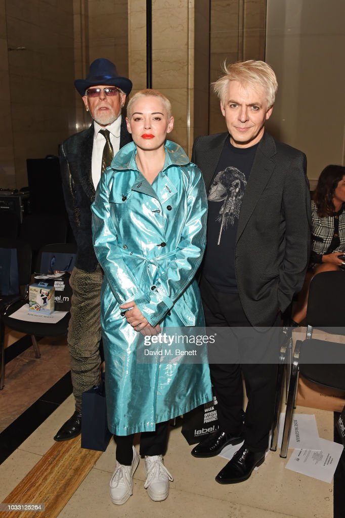 Antony Price, Rose McGowan and Nick Rhodes attend the Pam Hogg front row during London Fashion Week September 2018 at The Freemason's Hall on September 14, 2018 in London, England.