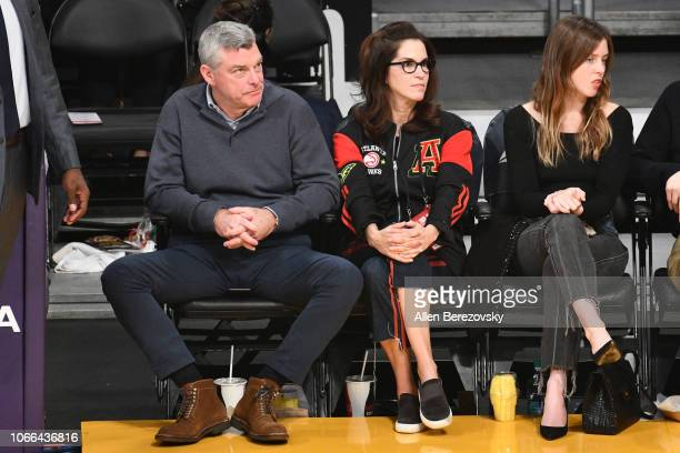 Antony Ressler and Jami Gertz attend a basketball game between the Los Angeles Lakers and the Atlanta Hawks at Staples Center on November 11 2018 in...