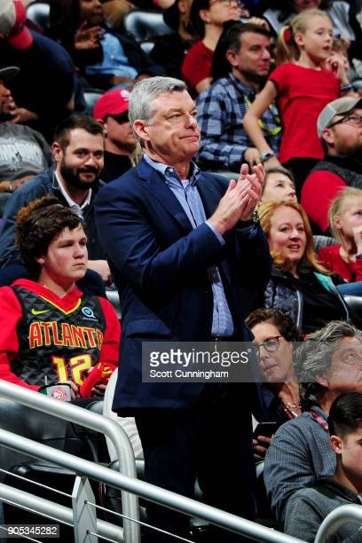 Antony Ressler owner of the Atlanta Hawks watches the game against the San Antonio Spurs on January 15 2018 at Philips Arena in Atlanta Georgia NOTE...