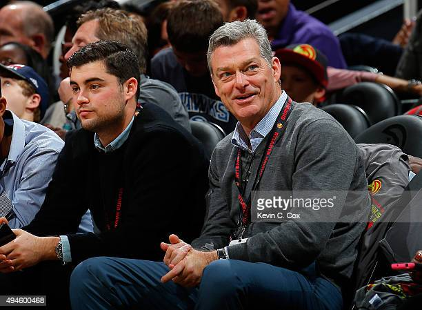 Antony Ressler principal owner of the Atlanta Hawks looks on during the game against the Detroit Pistons at Philips Arena on October 27 2015 in...
