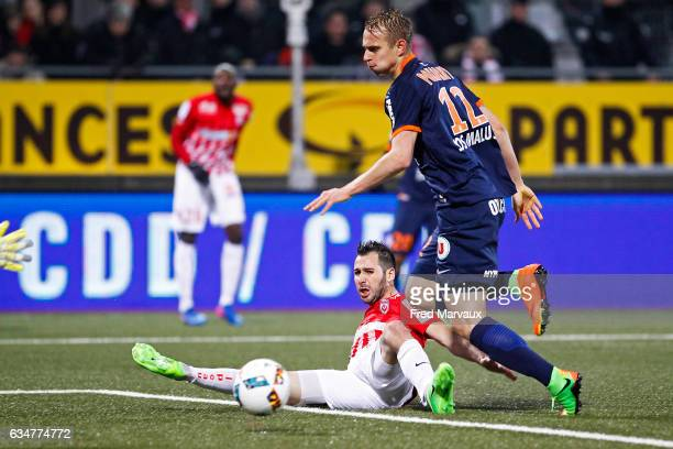 Antony Robic of Nancy and Lukas Pokorny of Montpellier during the Ligue 1 match between As Nancy Lorraine and Montpellier Herault at Stade Marcel...