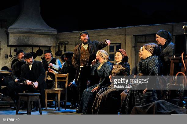Antony Sher as Jacob Bindel with artists of the company in Nicholas Wright's Travelling Light directed by Nicholas Wright at the National Theatre in...