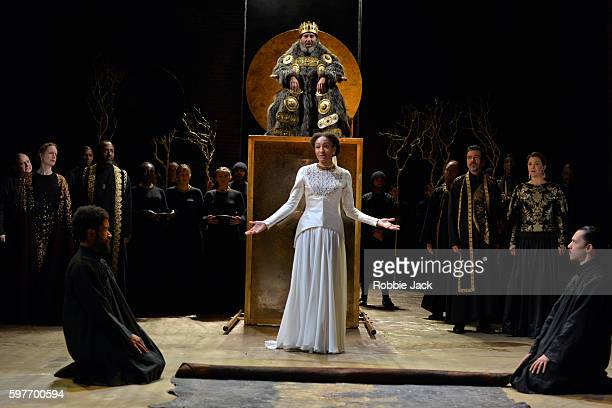 Antony Sher as King Lear and Natalie Simpson as Cordelia with artists of the company in William Shakespeare's King Lear directed by Gregory Doran at...