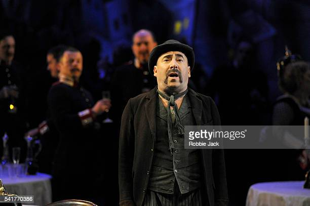 Antony Sher as Wilhelm Voigt with artists of the company in Carl Zuckmayer's The Captain of Kopenick directed by Adrian Noble at the National Theatre...