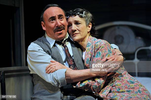Antony Sher as Willy Loman and Harriet Walter as Linda Loman in the Royal Shakespeare Company's production of Arthur Miller's Death of a Salesman...