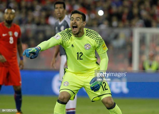 Antony Silva goalkeeper of Paraguay shouts during a match between Chile and Paraguay as part of FIFA 2018 World Cup Qualifiers at Monumental Stadium...