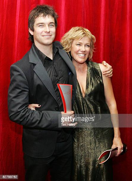 Antony Starr and Robyn Malcolm from Outrageous Fortune after winning their Qantas New Zealand Television Awards at the Civic Theatre on September 13...