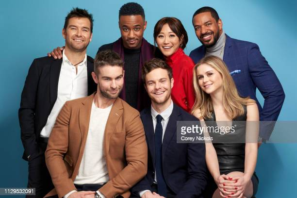 Antony Starr Jessie Usher Karen Fukuhara Laz Alonso and Chace Crawford Jack Quaid and Erin Moriarty of Amazon Prime Video's 'The Boys' pose for a...