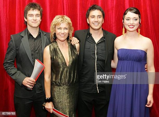 Antony Starr Robyn Malcolm Tammy Davis and Antonia Prebble from Outrageous Fortune after winning their Qantas New Zealand Television Awards at the...
