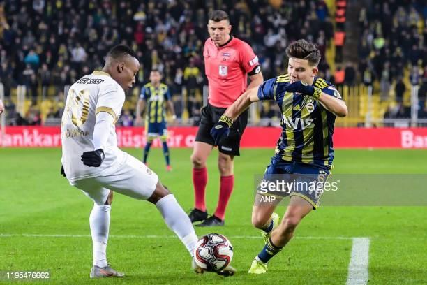 Antony Uzodimma of Istikbal Mobilya Kayserispor Ferdi Kadioglu of Fenerbahce SK during the Ziraat Turkiye Kupasi match between Fenerbahce AS and...