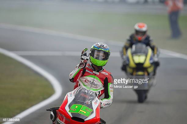 Antony West of Australia and QMMF Racing Team celebrates the victory at the end of the Moto2 race during the MotoGP of Netherlands Race at on June 28...