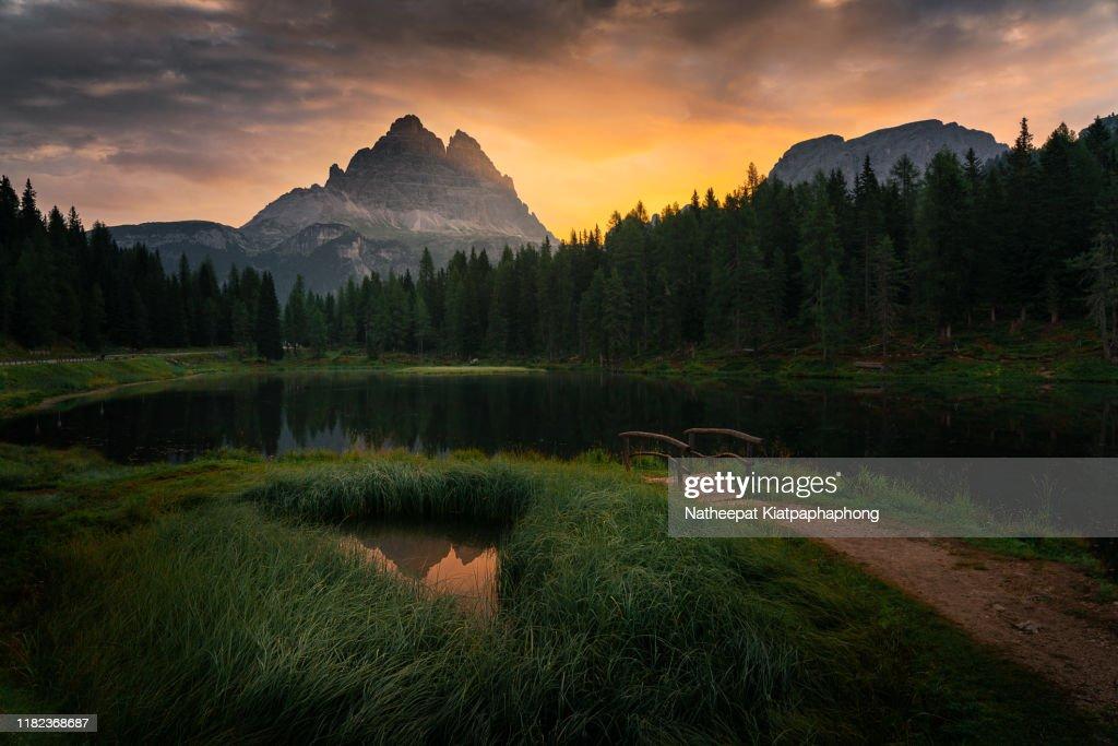 Antorno lake in sunrise : ストックフォト