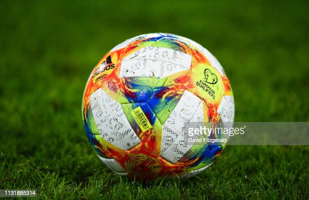 Antrim Ireland 21 March 2019 A view of the UEFA 2020 match ball prior to the UEFA EURO2020 Qualifier Group C match between Northern Ireland and...