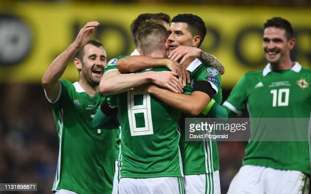 Antrim Ireland 21 March 2019 Steven Davis of Northern Ireland celebrates after scoring his side's second goal with teammates during the UEFA EURO2020...