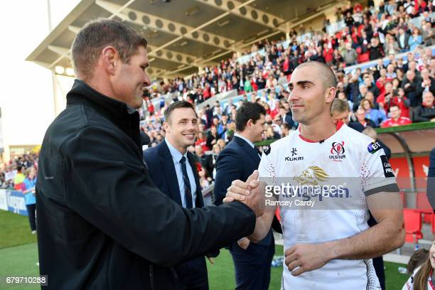 Antrim Ireland 6 May 2017 Ulster's Ruan Pienaar and former Ulster captain Johann Muller following the Guinness PRO12 Round 22 match between Ulster...