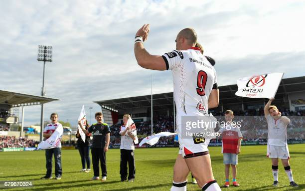 Antrim Ireland 6 May 2017 Ulster's Ruan Pienaar with son Jean Luc ahead of the Guinness PRO12 Round 22 match between Ulster and Leinster at the...
