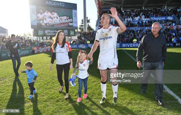 Antrim Ireland 6 May 2017 Ulster's Ruan Pienaar with son Jean Luc daughter Lemay wife Monique and father Gysie following the Guinness PRO12 Round 22...
