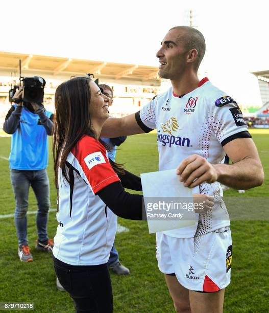 Antrim Ireland 6 May 2017 Ulster's Ruan Pienaar with wife Monique following the Guinness PRO12 Round 22 match between Ulster and Leinster at Kingspan...
