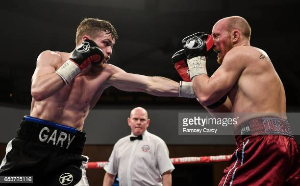 Antrim United Kingdom 10 March 2017 Gary Corcoran left in action against James Gorman during their welterweight bout in the Waterfront Hall in Belfast