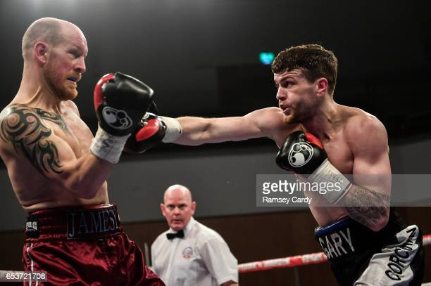 Antrim United Kingdom 10 March 2017 Gary Corcoran right in action against James Gorman during their welterweight bout in the Waterfront Hall in...