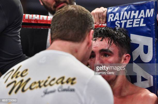 Antrim United Kingdom 10 March 2017 Jamie Conlan receives instructions from his coach during his bout against Yarder Cardoza during their WBC...