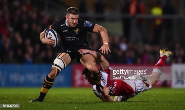 Antrim United Kingdom 13 October 2017 Jimmy Gopperth of Wasps is tackled by John Cooney of Ulster during the European Rugby Champions Cup Pool 1...