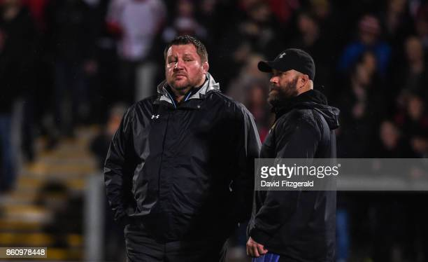 Antrim United Kingdom 13 October 2017 Wasps Director of Rugby Dai Young left speaks with Wasps strength and conditioning coach Daun Baugh prior to...