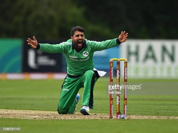 Antrim , United Kingdom - 13 September 2021; Simi Singh of Ireland makes an appeal during match three of the Dafanews International Cup ODI series...