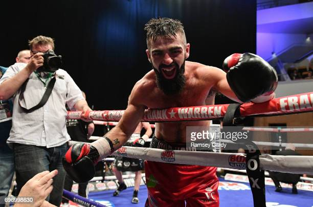 Antrim United Kingdom 17 June 2017 Jono Carroll celebrates defeating John Quigley in their IBF East/West Europe super featherweight title bout at the...