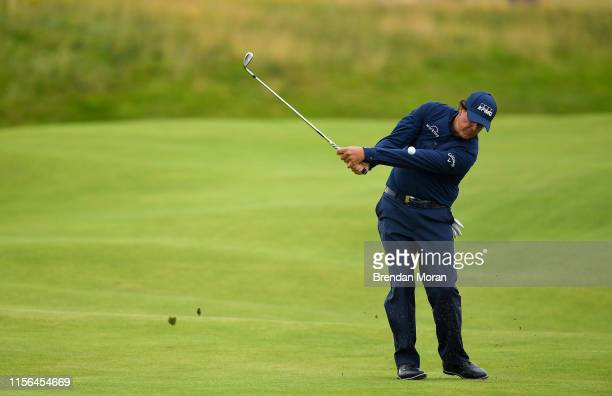 Antrim , United Kingdom - 19 July 2019; Phil Mickelson of USA chips onto the 2nd green during Day Two of the 148th Open Championship at Royal...