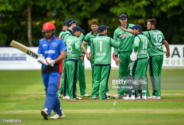 Antrim United Kingdom 19 May 2019 Ireland players celebrate after taking a wicket during the OneDay International between Ireland and Afghanistan at...
