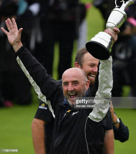 Antrim United Kingdom 21 July 2019 Brendan Lowry fathr of Shane Lowry of Ireland celebrates with the Claret Jug after winning the Open Championship...