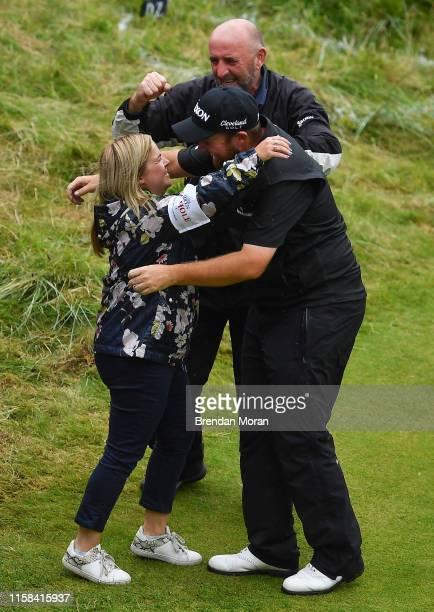 Antrim United Kingdom 21 July 2019 Shane Lowry of Ireland celebrates with his sister Sinead after winning the Open Championship on Day Four of the...