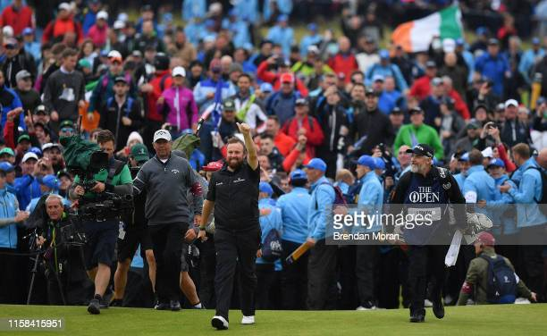 Antrim United Kingdom 21 July 2019 Shane Lowry of Ireland makes his way to the 18th green on his way to winning the Open Championship title on Day...
