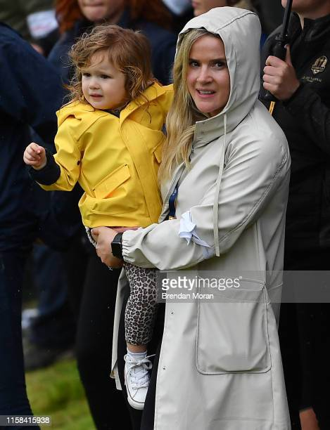 Antrim United Kingdom 21 July 2019 Wife and daughter of Shane Lowry Wendy Honner and daughter Iris on Day Four of the 148th Open Championship at...