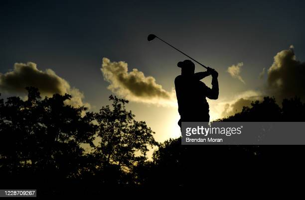 Antrim , United Kingdom - 25 September 2020; Shane Lowry of Ireland watches his drive on the 13th tee box during day two of the Dubai Duty Free Irish...