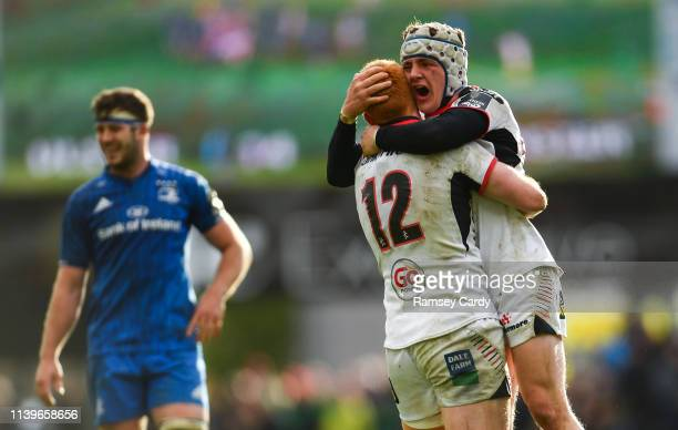Antrim United Kingdom 27 April 2019 Peter Nelson left and Michael Lowry of Ulster celebrate following the Guinness PRO14 Round 21 match between...