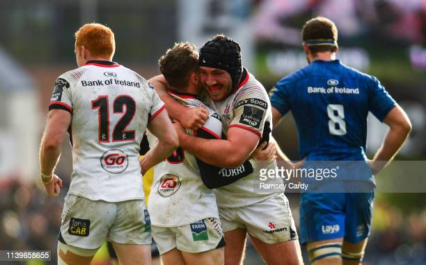 Antrim United Kingdom 27 April 2019 Tom O'Toole of Ulster celebrates following the Guinness PRO14 Round 21 match between Ulster and Leinster at the...