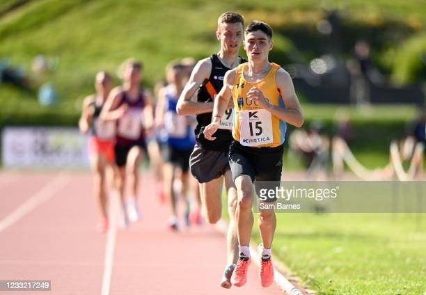 Antrim , United Kingdom - 29 May 2021; Darragh McElhinney of UCD AC, Dublin on his way to winning the Men's 1500m A event, ahead of Jonny Whan of...