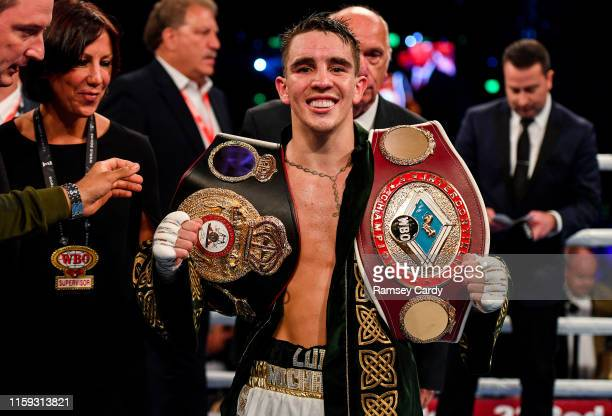 Antrim United Kingdom 3 August 2019 Michael Conlan with the WBA and WBO InterContinental Featherweight title belts after defeating Diego Alberto Ruiz...