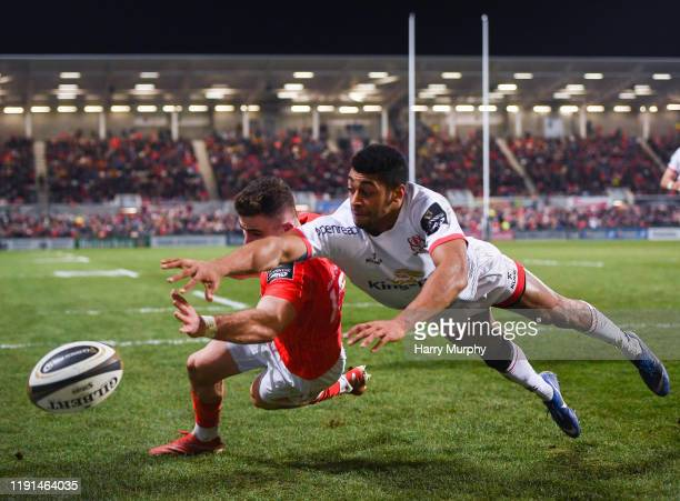 Antrim United Kingdom 3 January 2020 Shane Daly of Munster in action against Robert Baloucoune of Ulster during the Guinness PRO14 Round 10 match...