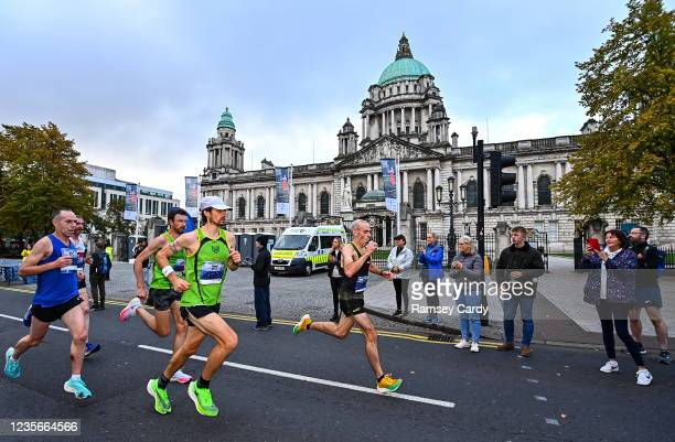 Antrim , United Kingdom - 3 October 2021; A general view of participants during the 2021 Deep RiverRock Belfast City Marathon at Belfast City Hall in...