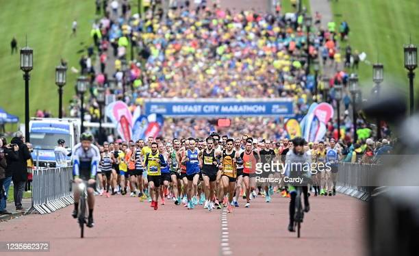 Antrim , United Kingdom - 3 October 2021; A general view of the startline during the 2021 Deep RiverRock Belfast City Marathon at Stormont Buildings...
