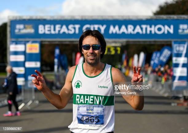 Antrim , United Kingdom - 3 October 2021; Mick Clohisey of Raheny Shamrock AC, Dublin, celebrates after winning the 2021 Deep RiverRock Belfast City...