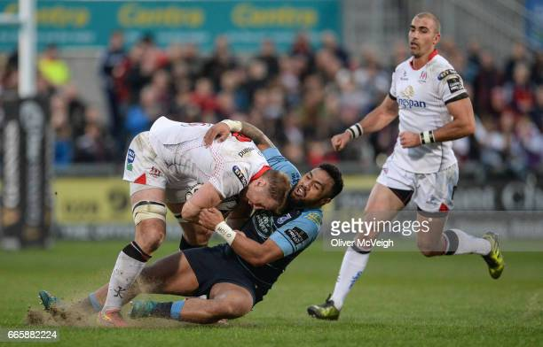 Antrim United Kingdom 7 April 2017 Roger Wilson of Ulster in action against Willis Halaholo of Cardiff Blues during the Guinness PRO12 Round 19 match...