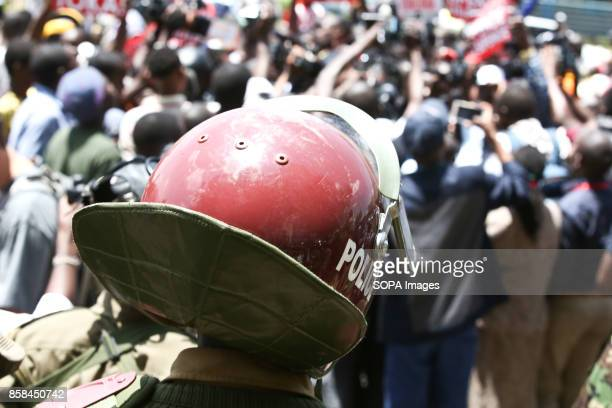 Antriot police Members observes as the Kenyan opposition supporters and their National Supper Alliance Leaders today demonstrated The opposition...