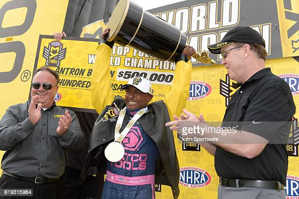 Antron Brown Don Schumacher Racing NHRA Top Fuel Dragster celebrates clinching the NHRA Top Fuel championship during the NHRA Toyota Nationals Sunday...