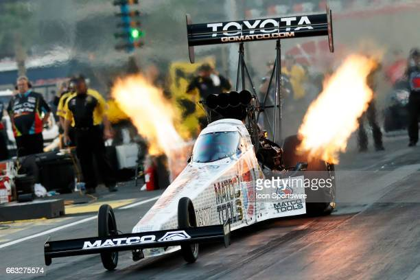 Antron Brown Don Schumacher Racing NHRA Top Fuel Dragster in action during the 18th Annual DENSO Spark Plugs NHRA Nationals Mello Yello event on...